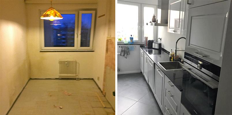 Küche vorher nachher